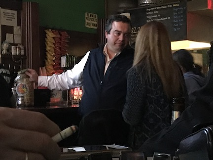 Michael John Gray and an unidentified female at the bar at Midtown Billiards, February 2018